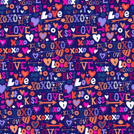 Vector seamless pattern with hand drawn hearts and words love for Valentine day. Background with doodle hearts, lettering. Hand drawn vector doodle Valentines background. Love letters texture in pink