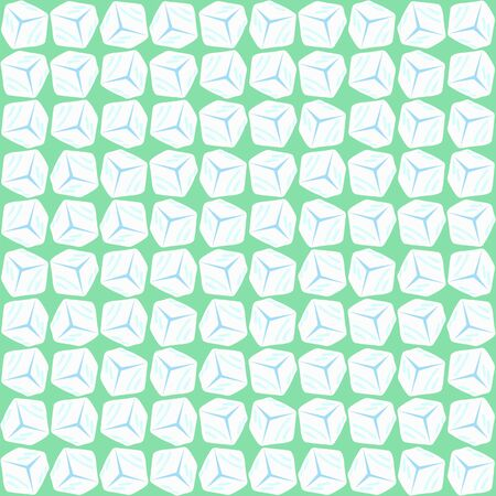 Vector seamless pattern tiles in mint green and white. Mid century geometric textile print for home decor with rotating 3D ice cubes. Abstract simple background with bold organic shapes in 1960 style. Ilustração