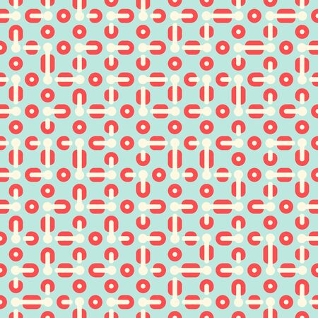Truchet pattern tiles in mint green and coral pink. Mid century geometric textile print for home decor and sport fashion. Abstract simple background with bold geometric shapes in 1960s style. Ilustração