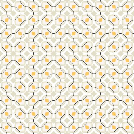 Vector tiles pattern, abstract seamless background in retro 1960s style. Mid century textile print, vintage fabric design in pastel color. Geometric abstract texture with round shapes and floral motif