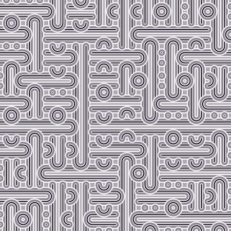 Vector tiles pattern, abstract seamless background in retro 1960s style. Mid century textile print, vintage fabric design in grey color. Geometric abstract texture with round shapes, circles, dots Ilustração