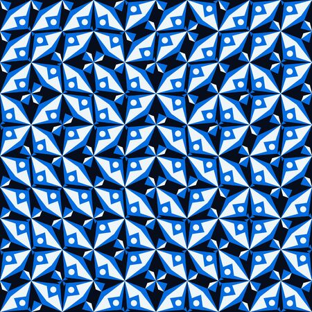Geometric abstract vector seamless textile pattern for home decor and sport fashion in blue, white, black. Simple background with bold geometric shapes in 1960s style. Abstract print with triangles
