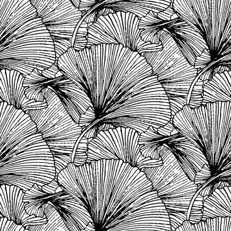 Modèle sans couture de vecteur avec des feuilles rayées. Abstrait printemps été avec motifs tropicaux et nautiques. Imprimé vintage avec des feuilles pour la décoration estivale et la mode printanière. Texture de feuilles de ginkgo