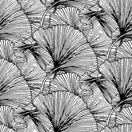 Vector seamless pattern with striped leaves. Abstract spring summer background with tropical and nautical motifs. Vintage print with leaves for summer decor and spring fashion. Ginkgo leaves texture