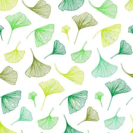 Vector seamless pattern with striped flowers leaves on white background. Abstract floral summer background. Vintage print with ginkgo leaves for spring decor and summer fashion. spring leaves texture Vettoriali