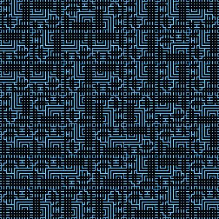 Pattern with geometric random shapes, squares checks, maze lines, stripes.