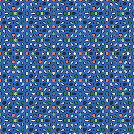 Blue abstract vector seamless pattern with oval shapes. Ilustração