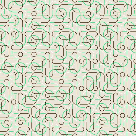 Vector seamless linear pattern in organic colors with semi circles.