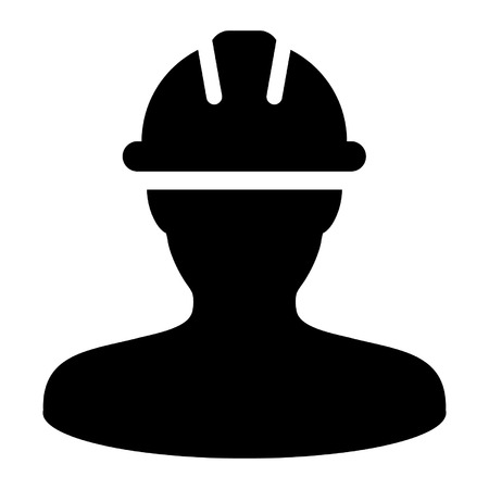 Worker Icon - Construction, Builder, Contractor User Icon in (Glyph Illustration).