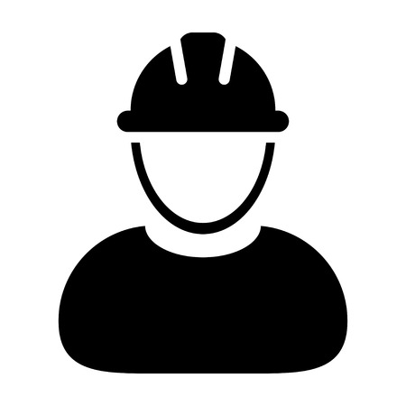 civil engineers: Worker Icon - Mechanic, Craftsmen, Engineer, Workman, Construction, Builder User Icon in Illustration.