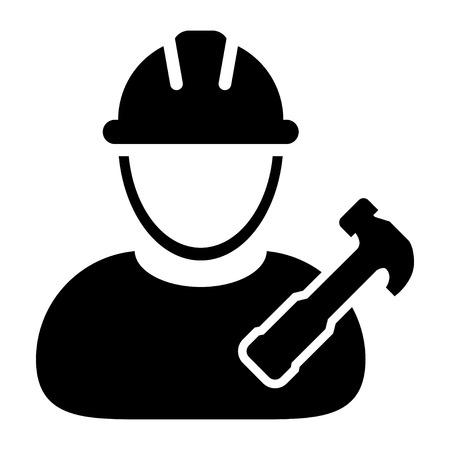 Worker Icon - Mechanic, Craftsmen, Engineer, Workman, Construction, Builder User Icon in Illustration.