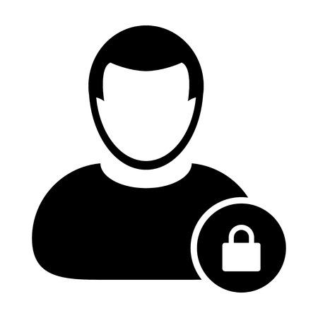 gent: User Icon - Lock, Security, Password, Login User Icon in (Glyph Vector Illustration) Illustration