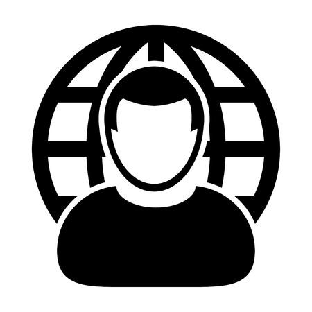gent: User Icon - Internet, Global, Businessman, International User Icon in (Glyph Vector Illustration) Illustration