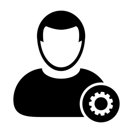 User Icon - Settings, Gear, Configuration, Admin User Icon in (Glyph Vector Illustration)
