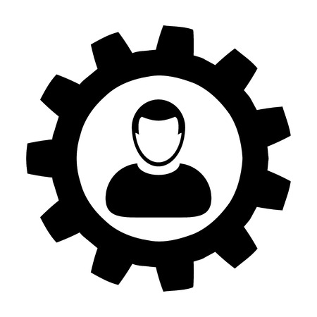 gent: User Icon - Settings, Gear, Configuration, Cog, Process User Icon in (Glyph Vector Illustration) Illustration