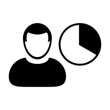 User Icon - Pie Chart, Graph, Analytics, Big Data User Icon in (Glyph Vector Illustration)