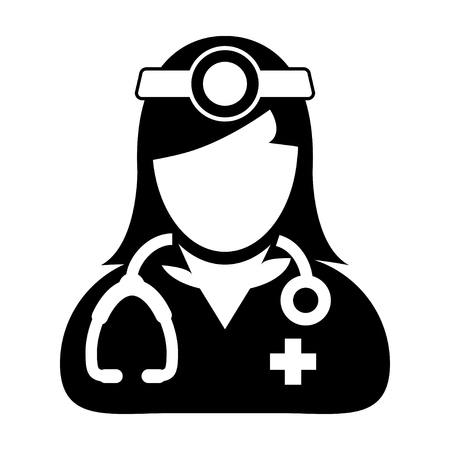 Doctor Icon - Woman, Female, Lady Doctor Icon in Glyph Vector illustration. Ilustração