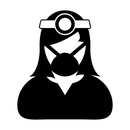 general practitioner: Doctor Icon - Woman, Female, Lady Doctor Icon in Glyph Vector illustration. Illustration