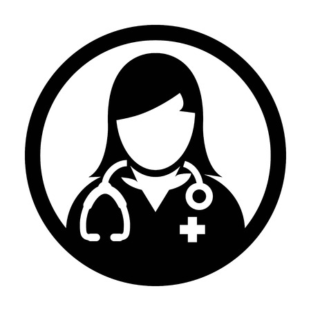 medico: Doctor Icon - Woman, Female, Lady Doctor Icon in Glyph Vector illustration. Illustration