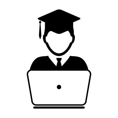 Student Icon with laptop computer - Online Graduation, Academic, Education, Degree icon in glyph vector illustration Illustration