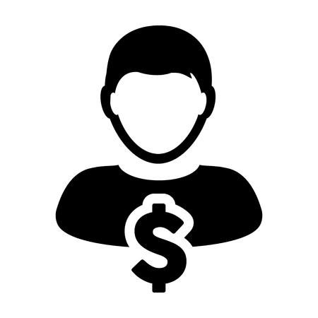 User Icon - Dollar, Businessman, Money, Finance Glyph Vector Graphic illustration