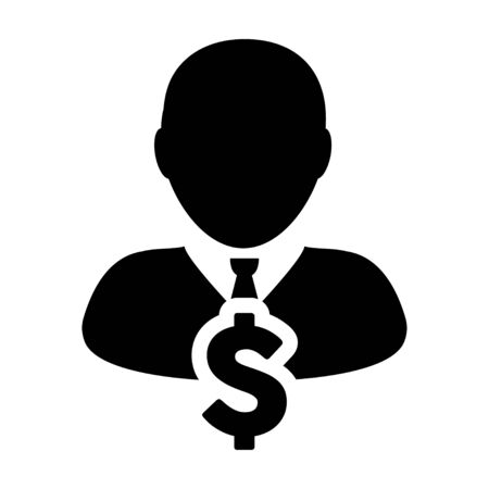User Icon - Dollar, Businessman, Money, Finance Glyph Vector Graphic illustration