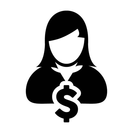 labor market: User Icon - Dollar, Businesswoman, Money, Finance Glyph Vector Graphic illustration