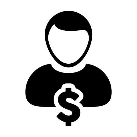 labor market: User Icon - Dollar, Businessman, Money, Finance Glyph Vector Graphic illustration
