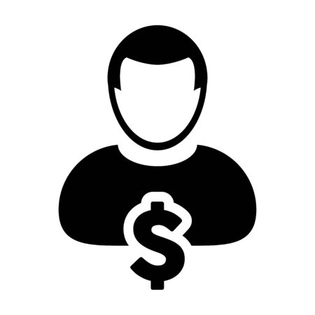 owner money: User Icon - Dollar, Businessman, Money, Finance Glyph Vector Graphic illustration