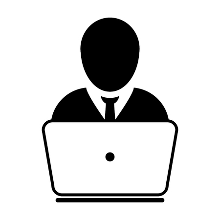 User Icon - Laptop, Computer, Device, Worker Vector illustration