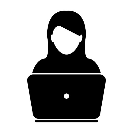 business woman: Woman User Icon - Laptop, Computer, Device, Worker Vector illustration Illustration