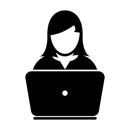 mujer trabajadora: Mujer Icono de usuario - ordenador portátil, ordenador, dispositivo, ilustración vectorial Trabajador