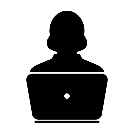 woman laptop: Woman User Icon - Laptop, Computer, Device, Worker Vector illustration Illustration