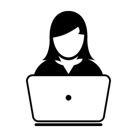 Woman User Icon - Laptop, Computer, Device, Worker Vector illustration Иллюстрация
