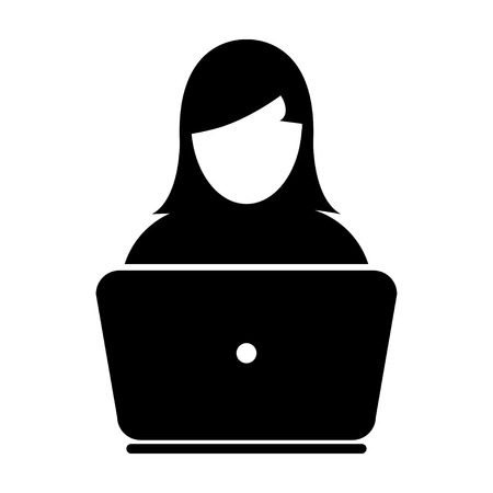 laptop icon: Woman User Icon - Laptop, Computer, Device, Worker Vector illustration Illustration