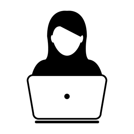 girl laptop: Woman User Icon - Laptop, Computer, Device, Worker Vector illustration Illustration