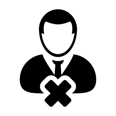account executive: Delete User Icon - Man, Profile, Businessman, Avatar, Person Glyph Vector illustration Illustration