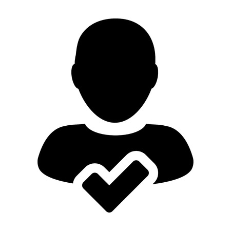 User Icon - Approve, Accept, Account, Avatar, Profile Glyph Vector illustration
