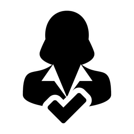 account executive: User Icon - Approve, Accept, Account, Avatar, Profile Glyph Vector illustration