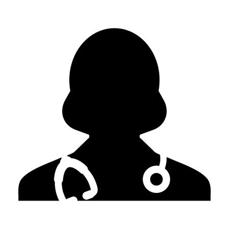general practitioner: Woman Doctor Icon - Physician, Medical, Health Care, MD Glyph Vector illustration