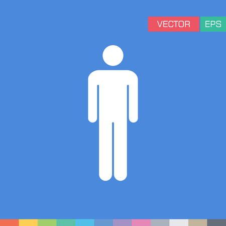 Human, Man, Male, Person, Avatar, User Flat Color Vector Icon Illustration Çizim