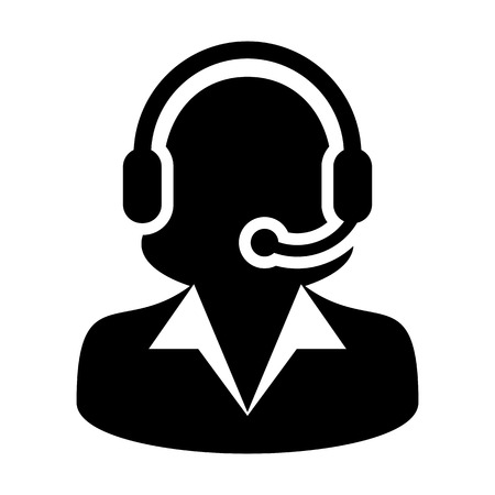 call centre girl: Customer Service, Support, Help Desk, Call Center Vector Icon