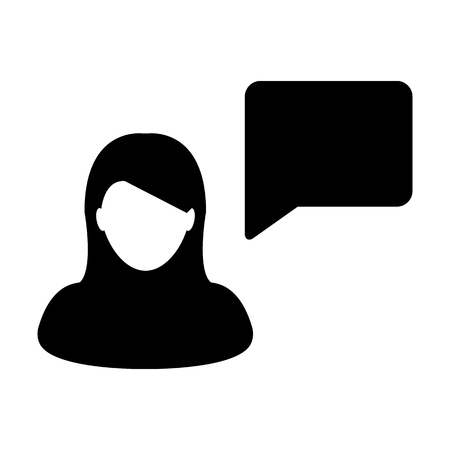 Woman User Icon - Person Profile Avatar With Chat Bubble Glyph Vector illustration