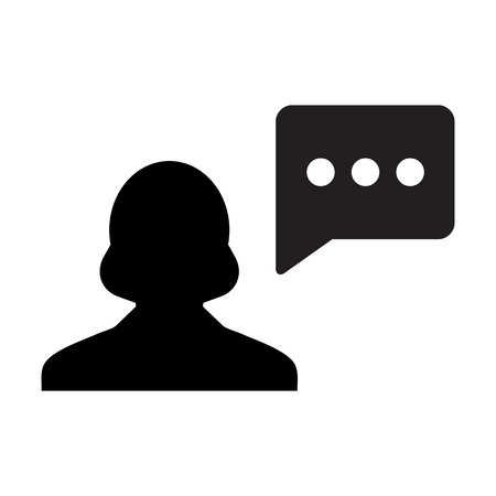 Woman User Icon - Person Profile With Chat Bubble Glyph Vector illustration