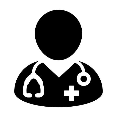 Doktor Icon - Arzt Person mit Stethoskop und Kreuz Profil Avatar in Glyph Piktogramm Vektor-Illustration Vektorgrafik