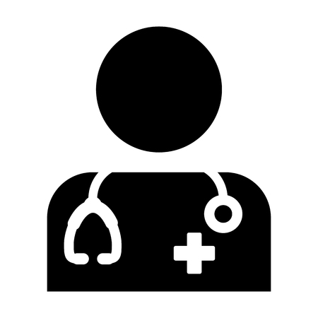 Doctor Icon - Physician Person With Stethoscope and Cross Profile Avatar in Glyph Pictogram Vector illustration