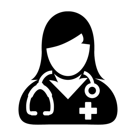 Female Doctor Icon - Physician Person With Stethoscope and Cross Profile Avatar in Glyph Pictogram Vector illustration Ilustracja