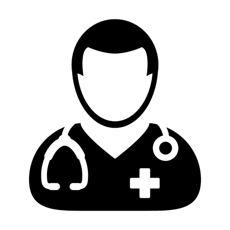 general practitioner: Doctor Icon - Physician Person With Stethoscope and Cross Profile Avatar in Glyph Pictogram Vector illustration