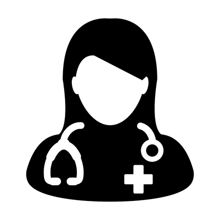 Female Doctor Icon - Physician Person With Stethoscope and Cross Profile Avatar in Glyph Pictogram Vector illustration Çizim