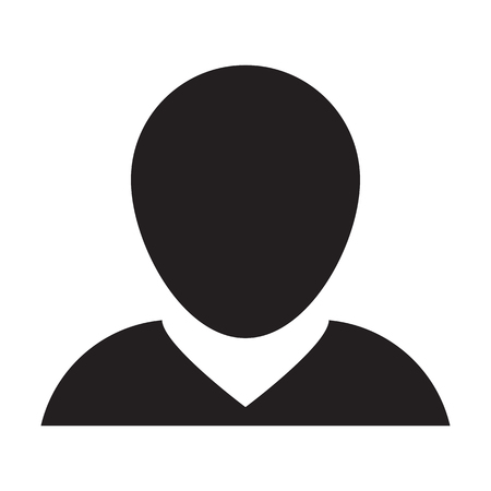 Man User Icon - Person Profile Avatar Glyph Vector Illustration